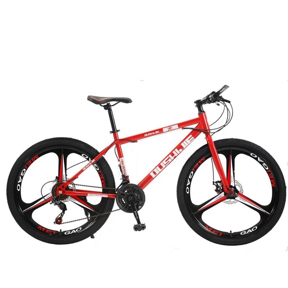 24-inch 26-inch 3 cutter wheels mountain bike red 21, 24, 27 speed