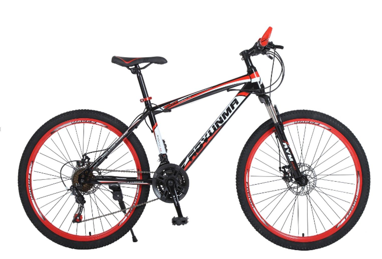 """24"""" 26"""" Leopard black red spoke wheel mountain bike 21, 24, 27 speed"""