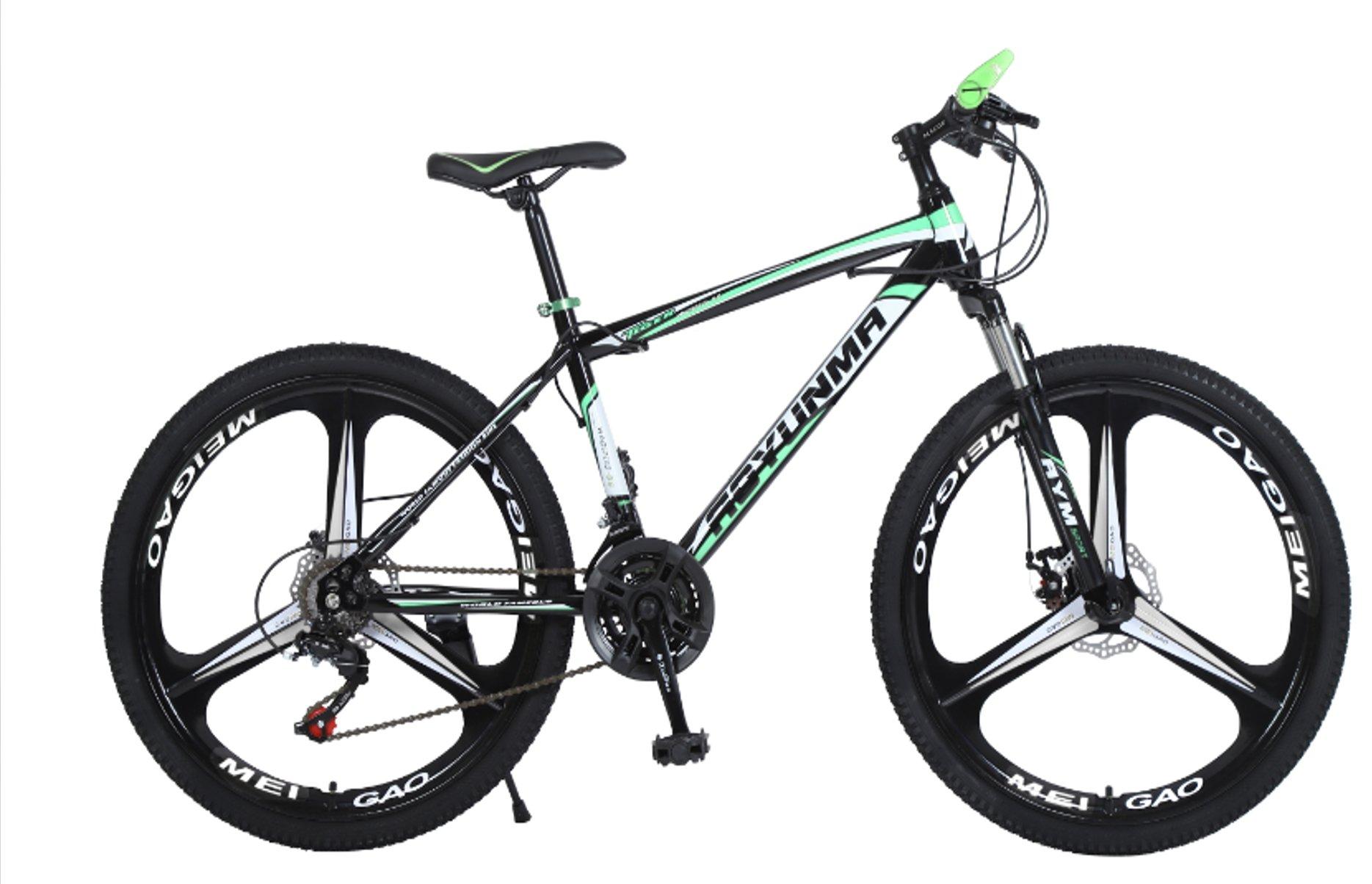 """24"""" 26"""" Lepoard black green 3 cutter wheels mountain bike 21, 24, 27 speed"""