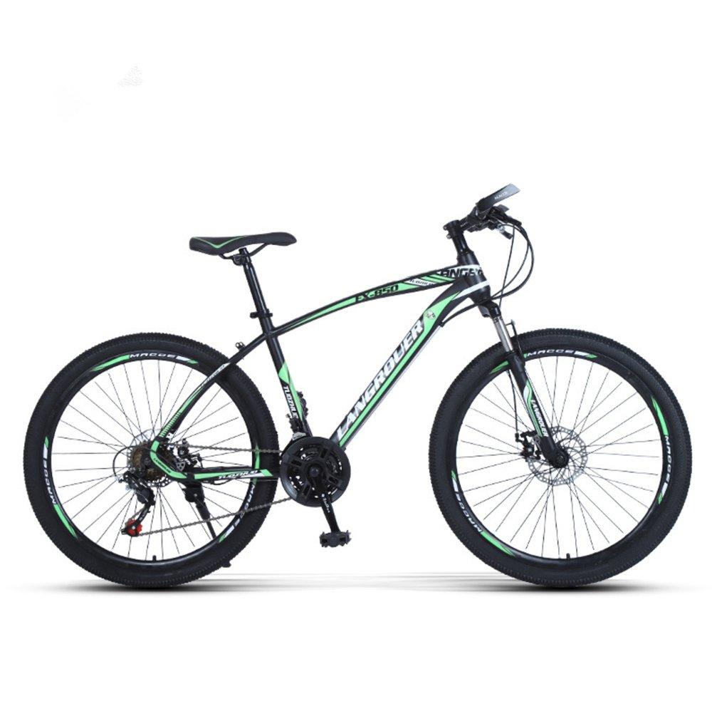 24-inch, 26-inch Wolf king green black spoke wheels mountain bike 21, 24, 27 speed