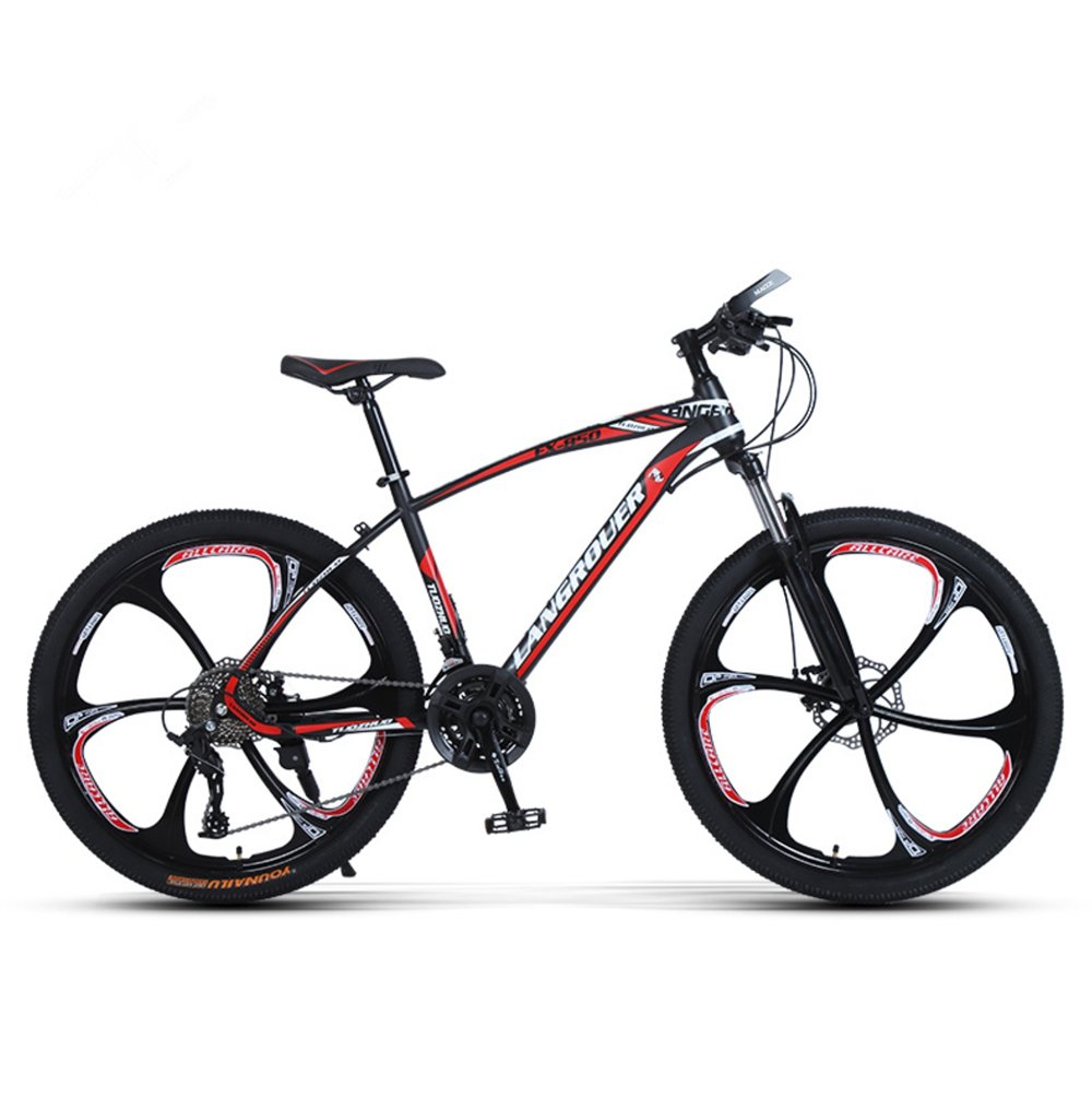 24-inch, 26-inch Wolf king black red 6 cutter wheels mountain bike 21, 24, 27 speed