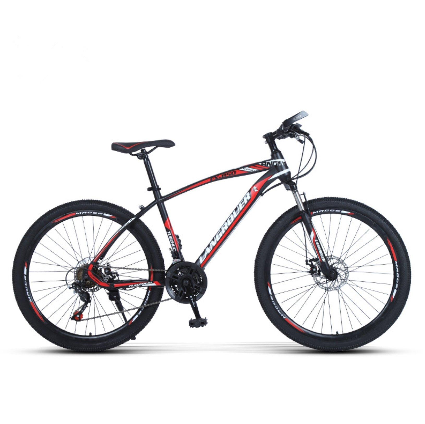 24-inch, 26-inch Wolf king black red spoke wheels mountain bike 21, 24, 27 speed