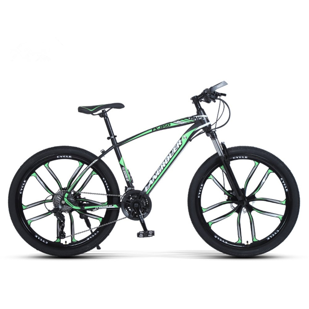 24-inch, 26-inch Wolf king black green 10 cutter wheels mountain bike 21, 24, 27 speed