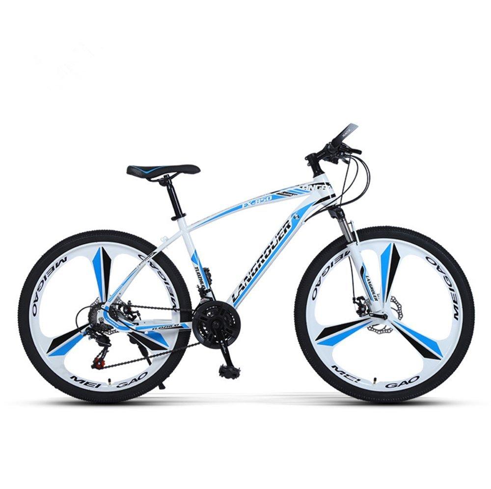 24-inch, 26-inch Wolf king white blue 3 cutter wheels mountain bike 21, 24, 27 speed