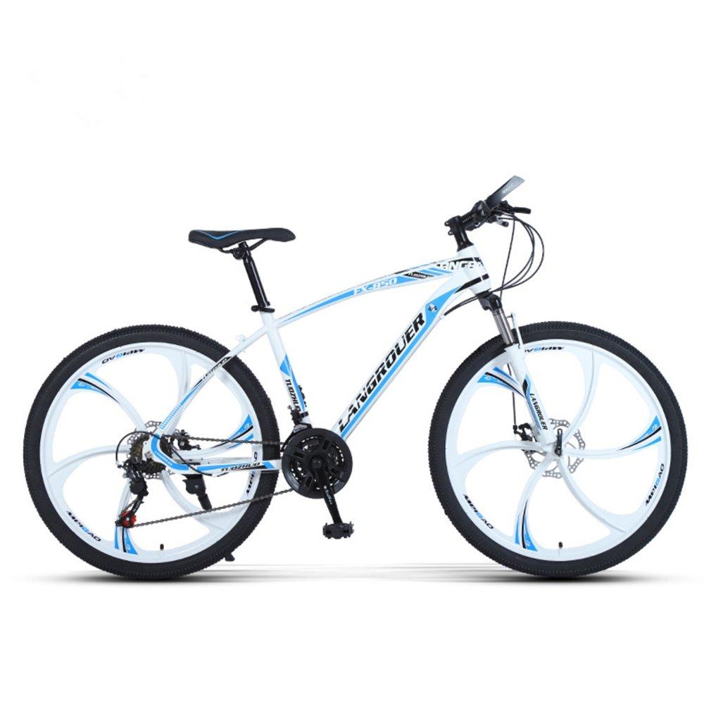 24-inch, 26-inch Wolf king white blue 6 cutter wheels mountain bike 21, 24, 27 speed