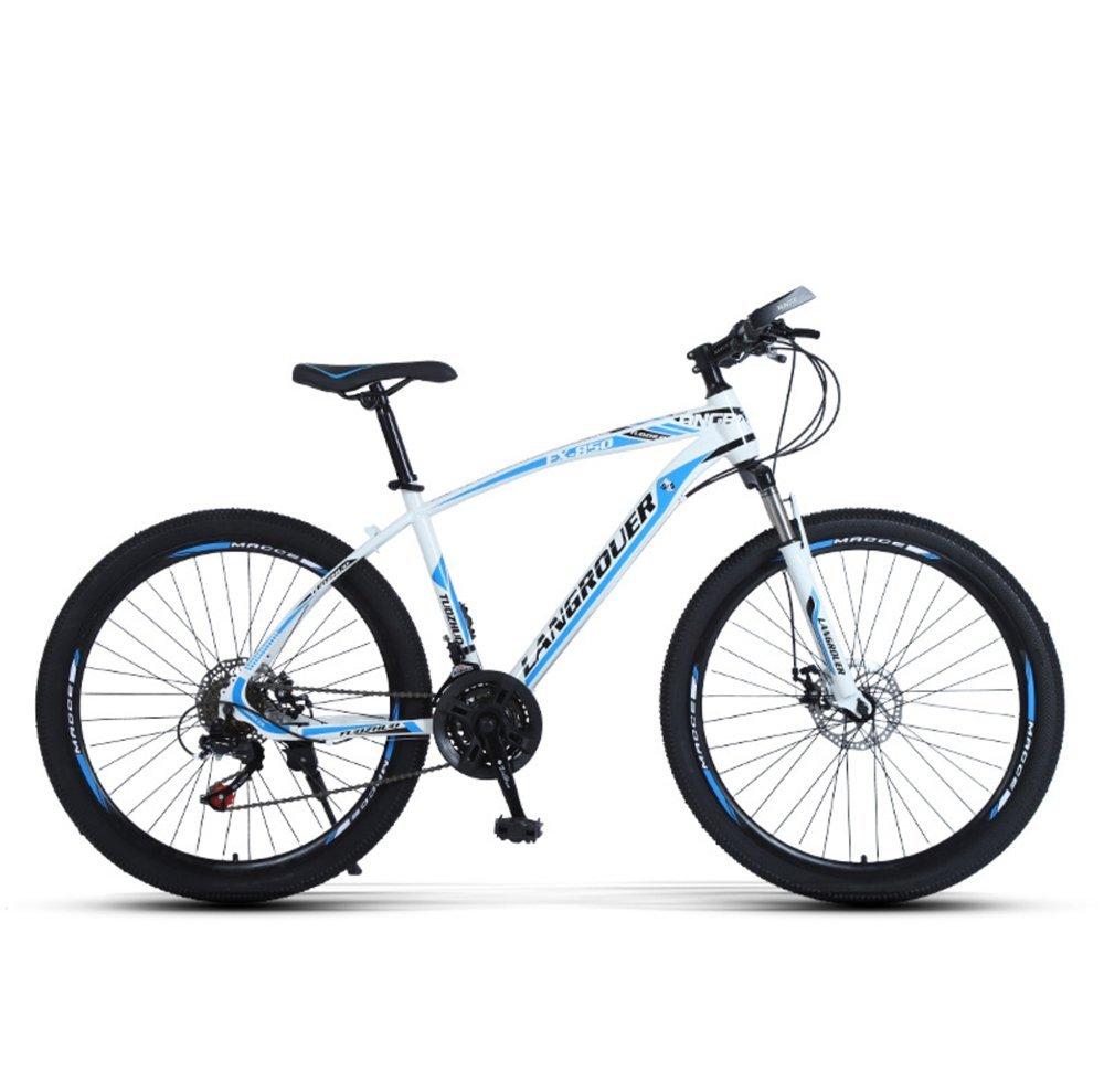 24-inch, 26-inch Wolf king white blue spoke wheels mountain bike 21, 24, 27 speed