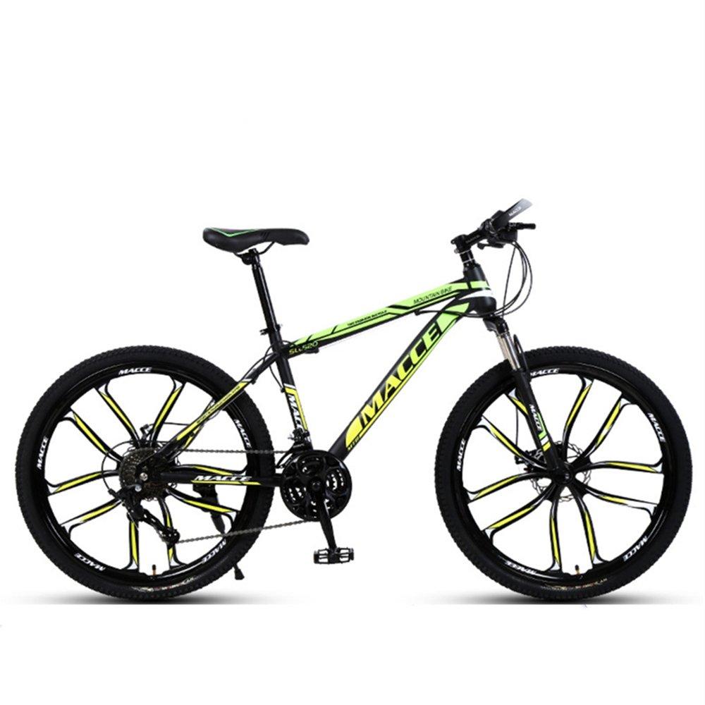 "24"" 26"" discovery green yellow 10 cutter wheels mountain bike 21, 24, 27 speed"