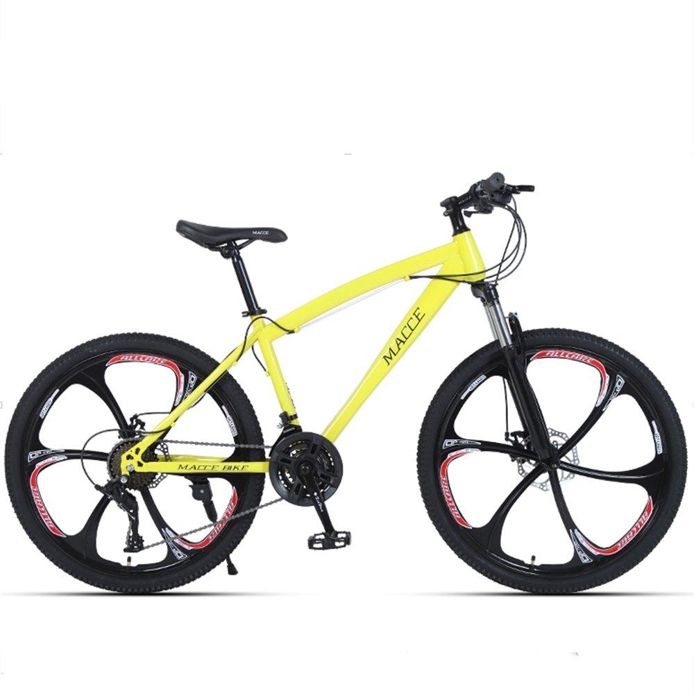 24-inch, 26-inch forest wolf yellow 6 cutter wheels mountain bike 21-speed, 24-speed, 27-speed