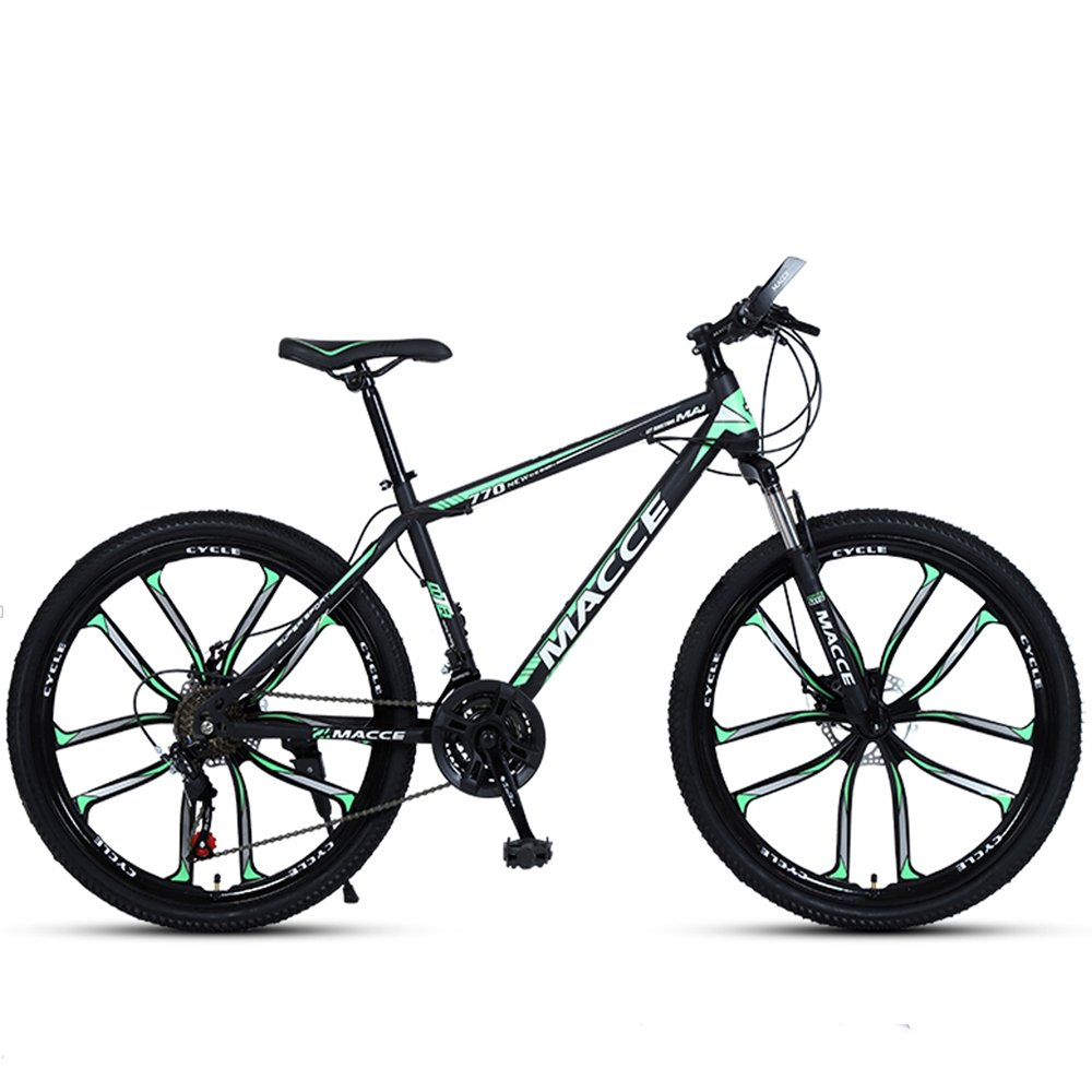 24-inch, 26-inch new warhawk black green 10 cutter wheels mountain bike 21-speed, 24-speed, 27-speed