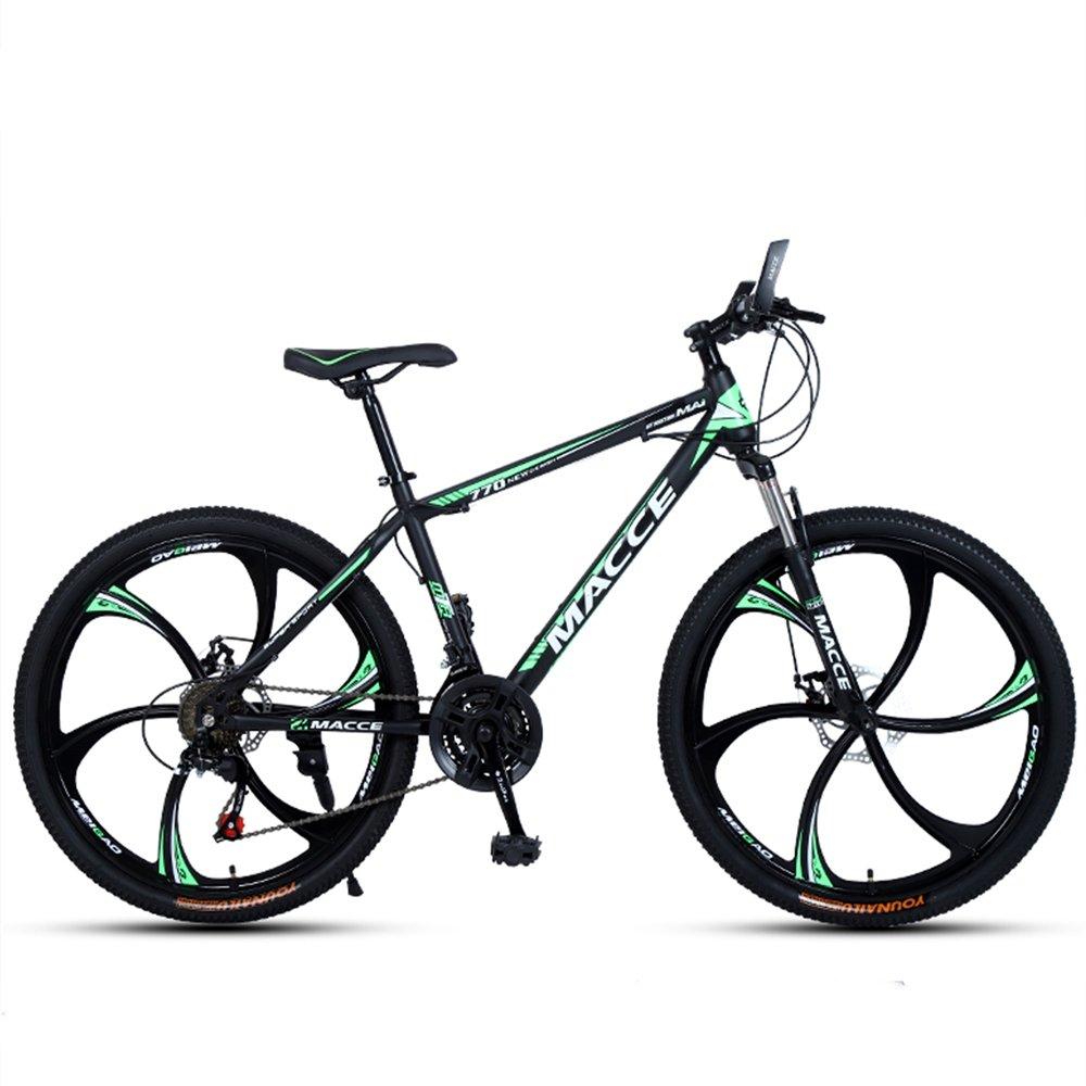 24-inch, 26-inch new warhawk green black 6 cutter wheels mountain bike 21-speed, 24-speed, 27-speed