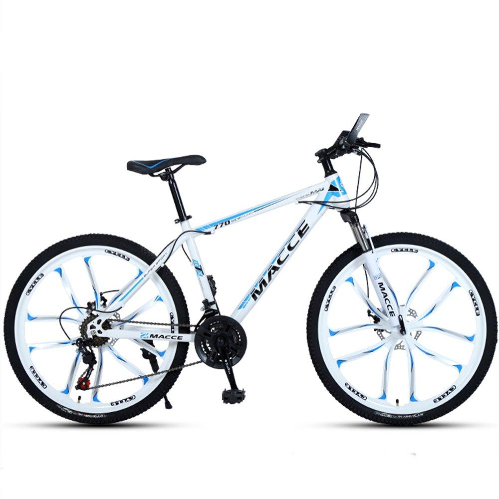 24-inch, 26-inch new warhawk white blue 10 cutter wheels mountain bike 21-speed, 24-speed, 27-speed